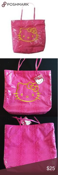 """Hello kitty tote bag New with tag. Its a hello kitty hot pink tote bag. Size: is 13"""" x 14. Strap is 20"""". Its a Licensed Product. No trades or Pp thanks Hello Kitty Bags Totes"""