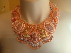 Peaches and Cream   Bead Embroidered collar, necklace....EBW team member