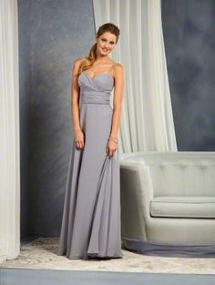 Alfred Angelo Style 7382L: long floor length bridesmaid dress with a draped sweetheart neckline and spaghetti straps. The shirred waistline is accented with a beaded trim.