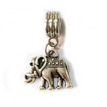 Berloque Europeu Banhado em Prata Elefante Indiano