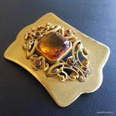 Antique Victorian Art Deco Signed JHP Vintage Brooch Pin Flower Rhinestone 457 | eBay #Victorian #vintage #jewelry