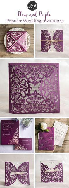 popular plum purple wedding invitations from elegant wedding invites