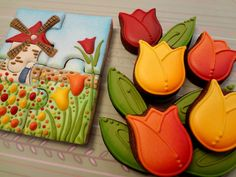 The Cookie Puzzle: Welcome to Holland Cookies by Jill FCS, one of my favorite cookie decorators. Fancy Cookies, Royal Icing Cookies, Cupcake Cookies, Sugar Cookies, Cupcakes, Dutch Cookies, Crazy Cookies, Tree Cookies, Flower Cookies