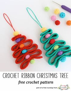 crochet ribbon christmas tree ornaments - A collection of crochet patterns, tips, supplies, amigurumi ideas and more. Crochet Christmas Decorations, Christmas Tree Pattern, Crochet Christmas Ornaments, Little Christmas Trees, Holiday Crochet, Simple Christmas, Free Christmas Crochet Patterns, Christmas Ribbon, Christmas Star