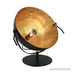 Chique tafellamp spot gunmetal met goud - www.straluma.nl