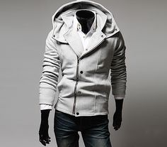 Korean Style Solid Color Chic Clipping Long Sleeves Polyester Hoodies For Men, LIGHT GRAY, L in Hoodies | DressLily.com