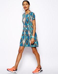 Image 4 ofRiver Island Chelsea Girl Aztec T Shirt Dress