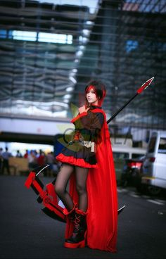 This costume may have selected sizes in stock, ships in 7-12 Days RWBY Ruby Rose Cosplay Costume Set Includes - Dress, Cape, Waistband, Bullet Set