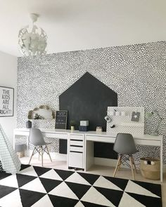 Monochrome Study/playroom Blackboard Wall And Hand Painted Dots on Amazing Playroom Ideas 80 Teenage Girl Bedroom Designs, Teenage Girl Bedrooms, Girls Bedroom, Cool Kids Bedrooms, Kids Rooms, Monochrome Bedroom, Blackboard Wall, Playroom Design, New Room
