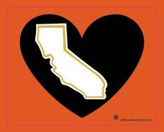 Giants Fever California Heart Bumper Sticker - pinned by pin4etsy.com