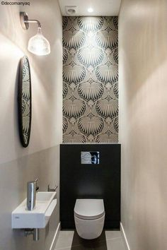 Cloakroom RevampWeekend revamp in our downstairs cloakroom, most satisfying revamp to date! New back to wall toilet, metro tiles and Devonstone grey floor tiles with a complimenting solid oak shelf. Small Downstairs Toilet, Small Toilet Room, Downstairs Cloakroom, Bathroom Small, Bathroom Ideas, Small Toilet Decor, Toilet Room Decor, Small Toilet Design, Cloakroom Ideas