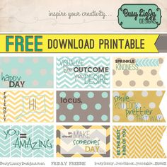 FREEBIE instant download Printable Tags. Positive & Happy Little LunchBox Notes.