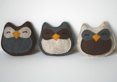Adorable Owl Catnip Felt Cat Toy tan gray or by smilingfrogpets