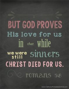 Christ Died for Us While We Were Still Sinners Chalkboard Printable - Catholic Printables Online