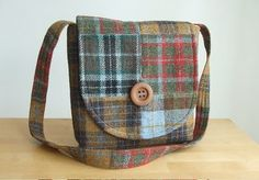 Harris tweed patchwork messenger-style bag - inspiring pic.