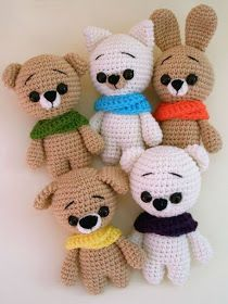 crochet amigurumi animal Free crochet animal patterns amigurumi set - These free crochet animal patterns can help you to create any animal you want by changing muzzle and ears. crochet stuffed dolls 27 Beautiful Picture of Crochet Stuffed Animal Patterns Crochet Teddy Bear Pattern, Crochet Animal Patterns, Crochet Bear, Stuffed Animal Patterns, Amigurumi Patterns, Crochet Animals, Stuffed Animals, Knitting Patterns, Knitting Toys