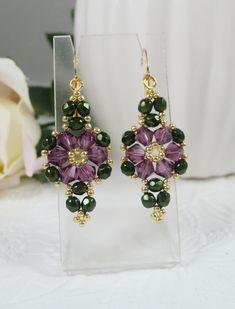 Woven Flower Earrings Amethyst Swarovski Crystals