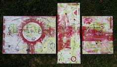 triptyque acidulé avec papier de soie vert anis, blanc,noir et rouge dimensions des toiles : 50x70- 30x80 - 40x50