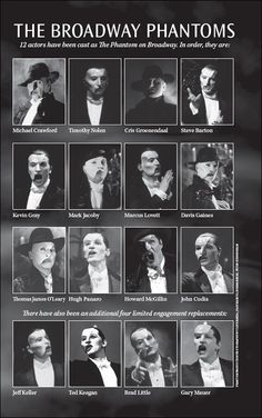 25th Anniversary poster of all the Phantom of the Opera stars including 3x Phantom, Hugh Panaro who will lead the cast for the anniversary.