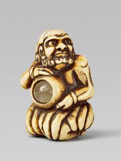 An ivory netsuke of South Sea islander. 18th century, Auktion 1092 Asiatische Kunst I Indien, Südostasien und Japan, Lot 629