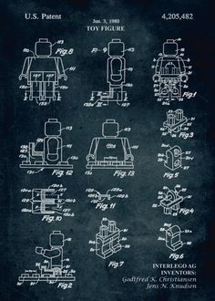 "LEGO Patents Minifigure Components artwork by artist ""Xavier Vieira"". Lego Patent, Lego Costume, Blueprint Art, Wood Toys Plans, Puppet Patterns, Lego Room, Lego Technic, Lego Minifigure, Vintage Lego"