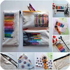 love this idea for using photographs of art supplies... Copic travel pouch anyone? :)