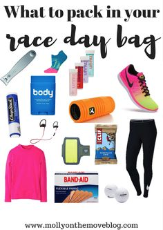 What to Pack in Your Race Day Bag Running a race is stressful enough as is, so don't let packing for the race be a worry too! Check my list to make sure you have it all before your big running day! Marathon Gear, Half Marathon Tips, Half Marathon Training, Marathon Running, Half Marathon Motivation, Ultra Marathon, Half Marathons, Gym Motivation, Running Day