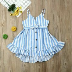 Baby Blue Striped Button Ruffle Sundress – Tins&Co Source by glendapink dress casual Source by KristyWomenFashion Girls Frock Design, Kids Frocks Design, Baby Frocks Designs, Baby Dress Design, Cute Baby Dresses, Kids Summer Dresses, Dresses Kids Girl, Little Girl Outfits, Party Dresses