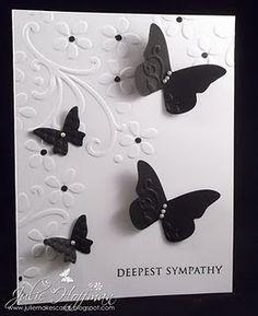 black and white. embossed. butterflies. Elegant Sympathy Card