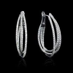 Diamond 18k White Gold Hoop Earrings #HolidayGiftGuide