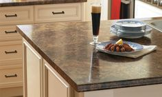 Mottled Colonial Countertops Laminate Kitchen Counter With Coffee Tones.  Looks Gorgeous Against The Cream Cabinets