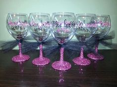 Bridesmaid Glitter Stemmed Wine Glasses Bride by ByJusteenCrafts