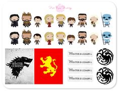 This listing includes 18 chibi character stickers, 4 Winter is Coming labels, 2 circular medallions and 2 full boxes for the vertical Erin