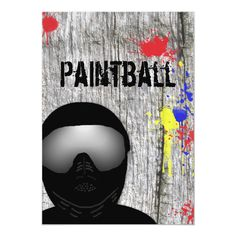 Custom Paintball Party Invitation (Design created by Mousefx. This invitation design is available on many paper types and is completely custom printed. Paintball Girl, Paintball Birthday, Paintball Party, Nerf Party, Outdoor Activities For Adults, Army Party, Paint Splatter, Paint Party, 50th Birthday