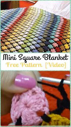 Crochet Mini Square Blanket (Free Pattern) | Crochet Rainbow Blanket Free Patterns (5) w/ links