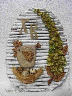 Поделка изделие Пасха Ассамбляж Декоративное пасхальное панно Клей Материал природный Шпагат фото 1