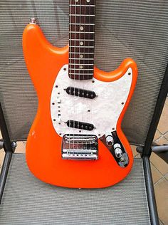 1965 Fender Mustang Vintage Electric Guitar Orange Finish   eBay