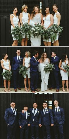 Modern bridal party with white bridesmaid dresses, lush greenery bouquets and groomsmen in navy blue suits | Sarah Godenzi Photography