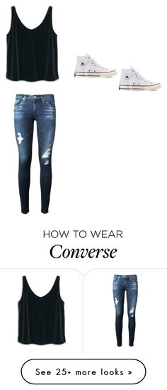 """""""School Daze"""" by shannontocool on Polyvore featuring AG Adriano Goldschmied, MANGO and Converse"""