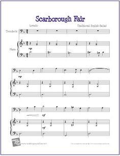Scarborough Fair   Free Sheet Music for Trombone - http://makingmusicfun.net/htm/f_printit_free_printable_sheet_music/scarborough-fair-trombone.htm