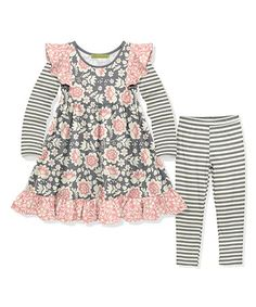 ab19279f0c8b90 Millie Loves Lily | Gray & Pink Floral Ruffle-Accent A-Line Dress &  Leggings - Toddler & Girls. Love LilyComfy DressesDresses ...