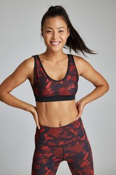 13423b17a7 With Studio  Bra! Fashionably functional. This red camo print sports bra  features a