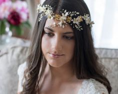 Gold Bridal Hair Vine Wedding Headpieces with by adriajewelry