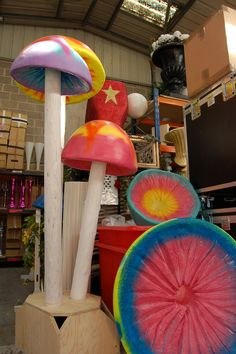 We make the props in our warehouse in Brighton! These giant toadstools are painted in colours you just want to eat.