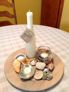 Ocean Themed Centerpiece with our Natural Wine Bottle Candle