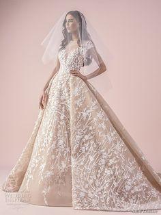 saiid kobeisy 2018 bridal cap sleeves illusion bateau sweetheart neckline full embellishment romantic princess ball gown wedding dress (3259) mv -- Saiid Kobeisy 2018 Wedding Dresses