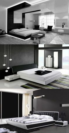 Modern Black and White Bedroom Design Ideas - http://interiordesign4.com/modern-black-and-white-bedroom-design-ideas/