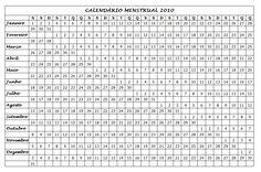2010 Calendário Menstrual