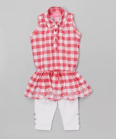 Loving this Girls Luv Pink Fuchsia Gingham Sleeveless Tunic & Leggings - Toddler & Girls on #zulily! #zulilyfinds