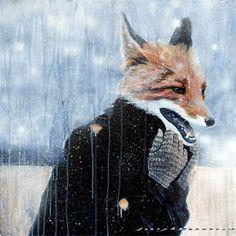Gorgeous fox illustration. Artist unknown.